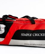 Simply Cricket Players Wheelie Bag (black, silver and red)