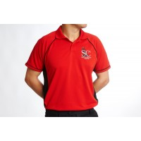 Polo Shirt, Black and Red, Simply Cricket