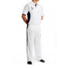 White Playing Shirt- Navy Blue Mesh - Simply Cricket